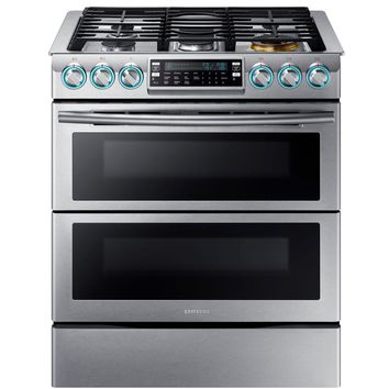 Samsung Flex Duo 5.8 cu. ft. Slide-In Double Oven Gas Range with Self-Cleaning Convection Oven in Stainless Steel-NX58K9850SS - The Home Depot