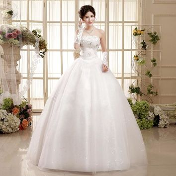 Spring Lace Embroidery Crystal Wedding Dress Wedding Ball Gown
