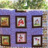 Twin Size Quilt, Cotton, Handmade, Garden Fairies Purple Quilt