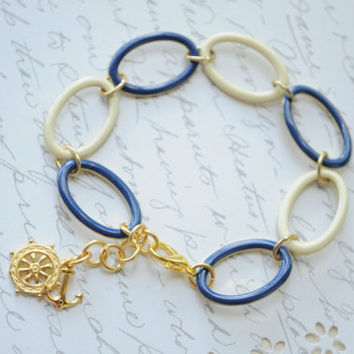 Follow Me- Navy, Creme and Gold link bracelet- Anchor charm, Wheel charm, Nautical bracelet, Preppy bracelet