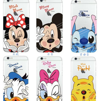 2016 New Funny Soft TPU Case Cartoon Minnie Mickey Mouse Stitch Daisy Duck silicon Cover Coque Capa For iPhone 6 6s 4.7 inch