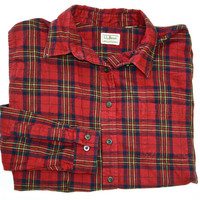 Vintage LL Bean Plaid Mens Button Up Shirt Mens Size Large