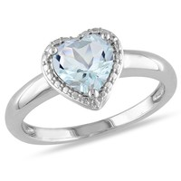 1 1/2 CT TGW Aquamarine Fashion Ring  Silver