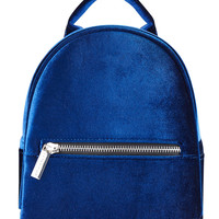 Navy Velvet Mini Backpack