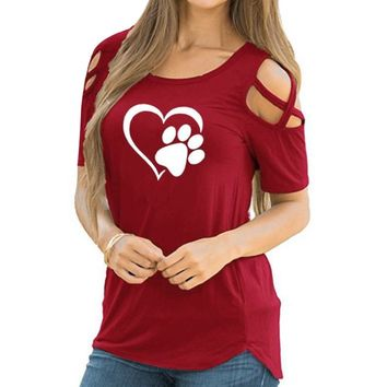 Summer Sexy Women Cat Foot Heart Printed T Shirt Casual Ladies Solid Loose T-Shirt Tee Shirt Femme Cross Cold Shoulder Tops A1