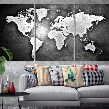 N14451 - Modern Large Black Metalic Wall Art World Map Map Canvas Print for Living Room Decor Art- Ready to Hang