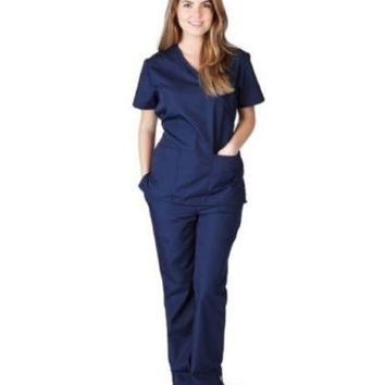 Mock Wrap Scrub Set-Women Medical Nurse Scrub Top and Pants New MM001