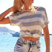 Casual Round Neck  Stripe T-Shirt