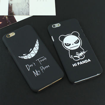New Fashion Luxury Ultra Slim Case For iPhone 6 6s 6 Plus 6s Plus Black Scrub Letter Cartoon PC Hard Back Cover Cases Capa