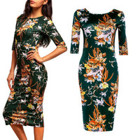 SIMPLE - Summer Floral Printed Green One Piece Dress a12341
