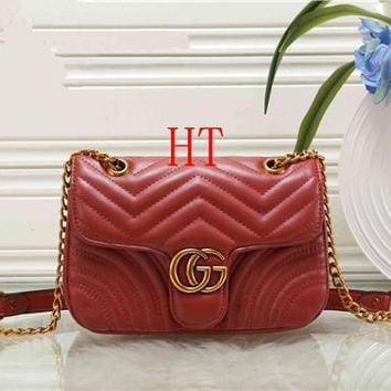 Gucci All-match Fashion GG Letter Quilted Chain Single Shoulder Messenger Bag Women Flip Small Square Bag