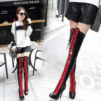 Patchwork Lace Up Round Toe Stiletto High Heels Over-knee Boots