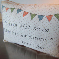 Peter Pan nursery pillow baby shower gift cotton throw pillow soft cushion