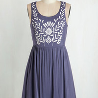 The Folky Pokey Dress in Dusk Blue | Mod Retro Vintage Dresses | ModCloth.com
