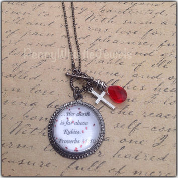 Bible Verse Jewelry, Proverbs 31:10 Necklace, Scripture Jewelry, Her Worth Is Far Above Rubies, Scripture Necklace, Inspirational Jewelry
