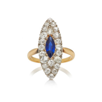 One-Of-A-Kind Vicotrian Diamond with Sapphire Center Marquise Ring | Moda Operandi