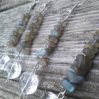 Labradorite Earrings, Labradorite Jewelry, Crystal Earrings, Crystal jewelry, gypsy earrings, Pagan Wiccan Jewelry, Real Healing Crystals