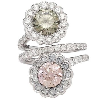 GIA Fancy Color Diamond gold Flower Bypass Ring