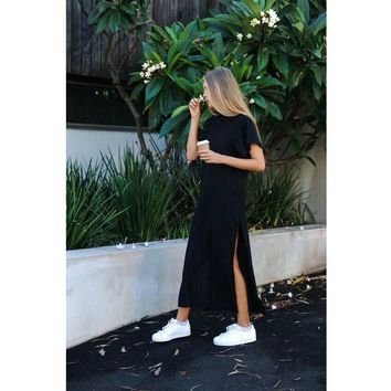 2018 Women Sexy Wear Summer Style Bodycon Dresses Black Cut Out Trim Short Sleeve O-Neck Split Straight Loose Maxi Dress Vestido