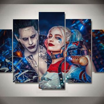 5 Panel Suicide Squad Joker With Harley Quinn Modern Home Wall Decor Canvas Picture Art HD Print Painting On Canvas Artworks
