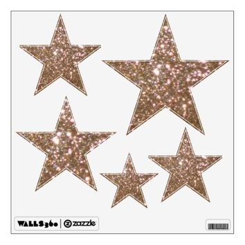 Gold Glittery Look Stars: Wall Decals