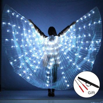 NEW Women Belly Dance Props 360 Degrees LED Shining Wings Girls Dance Wings Angle of Opening Dancer Props Wings With Sticks