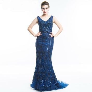 V Neck Backless Evening Dress Sequined Mermaid Lace up Dress Elegant robe