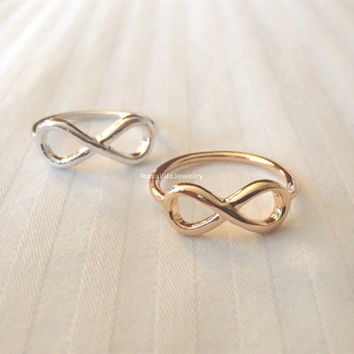Infinity rings - Gold and Silver, minimalist knuckle rings, midi rings, mini rings, silver ring, gold ring, infinite love, infinity love