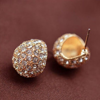 Vintage Full Crystal Crescent Stud Earrings Beatles Earring For Woman Gold