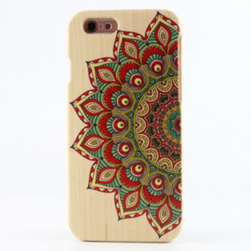 Natural Wood iPhone 5 case iPhone 5s case Painted Mandala iPhone cover - NW5003
