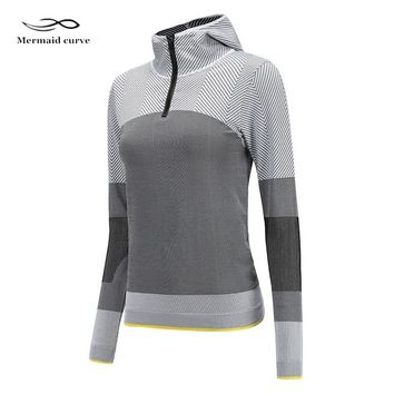 Mermaid Curve Women Gym Letter Loose Sport T Shirt Fitness Women Crop Yoga Tops Outdoor Polyester Fabric Running T-shirts