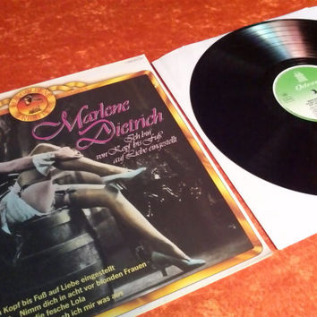 Vintage Marlene Dietrich Vinyl Record Album German Singer Actress