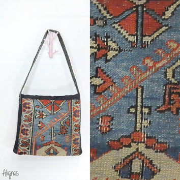 Vintage Tapestry Bag • Carpet Bag • Vintage Tapestry Rug Purse • 1980s Shoulder Bag • Braided Leather Strap • Tote Bag • 80s Shoulder Bag