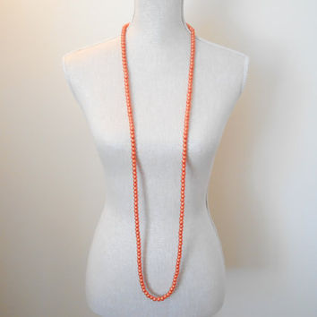 Orange necklace, Pearl necklace, Long necklace,  Wedding jewelry, Wedding necklace,  Bridesmaid necklace, Valentine gift, Mothers day