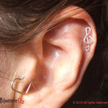 Cartilage Stud, Treble Clef Cartilage stud earring recycled sterling silver handmade by BijouterieOz