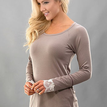 A Hint of Lace Top - Latte