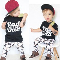 Baby boys clothes set summer Toddler Baby Kids Boy Print Tops Shirt Pants Outfit Set Clothes children clothes drop shipping