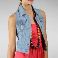 Light Denim Distressed Vest