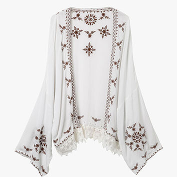 White Embroidered Cover Up Cardigan