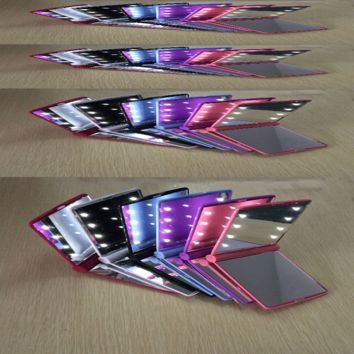 Compact Mirror Cosmetic Folding Portable Pocket with 8 LED Lights Lamps