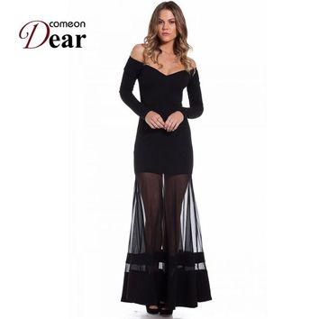 R70229  Elegant off the shoulder women's long dress fashion 2017 new good quality black dress full sleeve sexy maxi dresses long