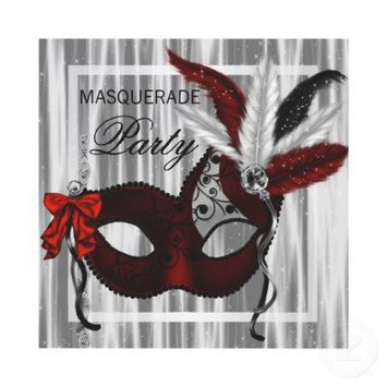 Red Black White Masquerade Party Invites from Zazzle.com