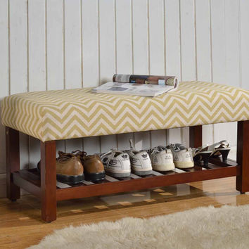 Citron and Cream Chevron Cocktail Bench