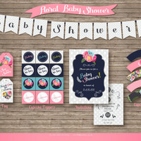 Classy Floral Baby Shower Suite // Invitation Cupcake Wraps Toppers // Gift Bag Tags Bunting // Flowers Nature themed // Pink Navy Blue Cute