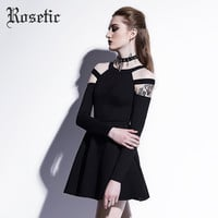 Aliexpress.com : Buy Rosetic Gothic Mini Dress Black Fashion Hollow Fall Women Casual Dress Goth Empire A Line Young Short O Neck Gothics Mini Dress from Reliable mini dress suppliers on Rosetic Store