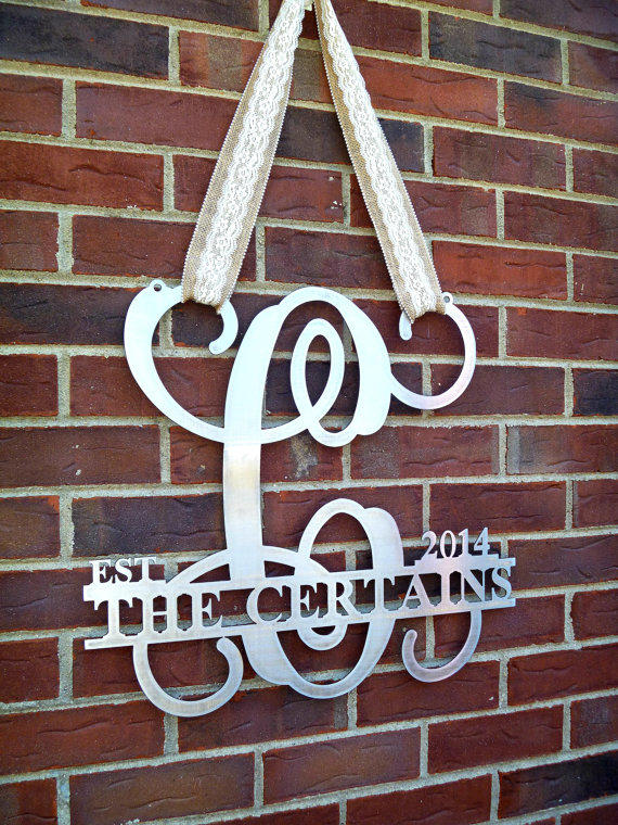 Metal Monogram Door Hanger Monogrammed From