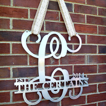 Metal monogram door hanger, Monogrammed metal wreath, Metal wall art, Sign, Wedding gift, Established monogram sign,Personalized gift