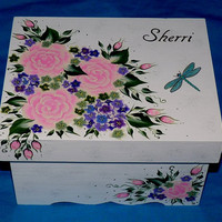 Custom Wedding Keepsake Box Hand Painted Personalized Wood Memory Suitcase Box Shabby Chic Wedding Guest Book Box Dragonfly Roses White