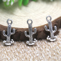 30pcs- cactus Charms Antique Tibetan silver cactus charm pendants 20x9mm