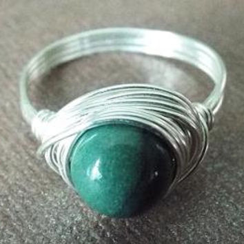Indian Agate ring - boho ring - wire wrapped jewelry handmade - green stone ring - green Agate ring - simple ring - cute ring